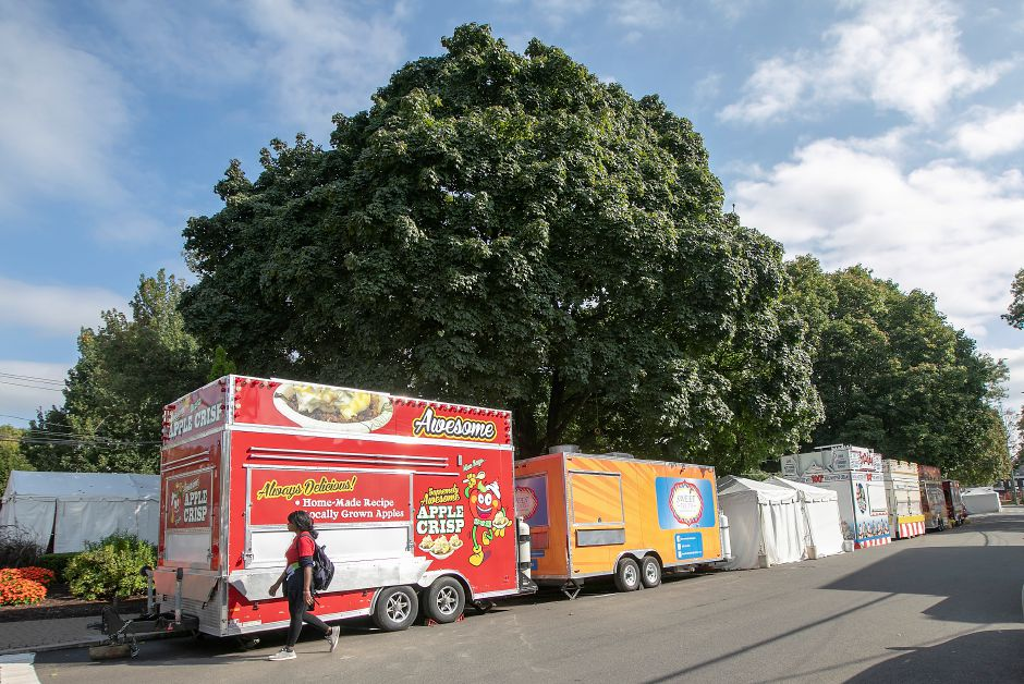 Food vendors lined up on Main Street as preparations for the 51st annual Apple Harvest Festival continue in Southington, Tues., Oct. 1, 2019. Dave Zajac, Record-Journal