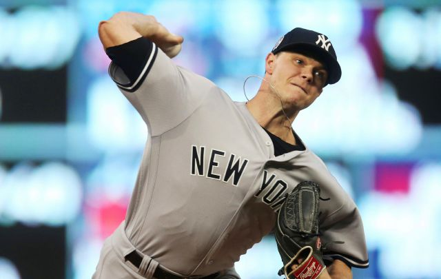 New York Yankees pitcher Sonny Gray throws against the Minnesota Twins in the first inning of a baseball game, Tuesday, Sept. 11, 2018, in Minneapolis. (AP Photo/Jim Mone)