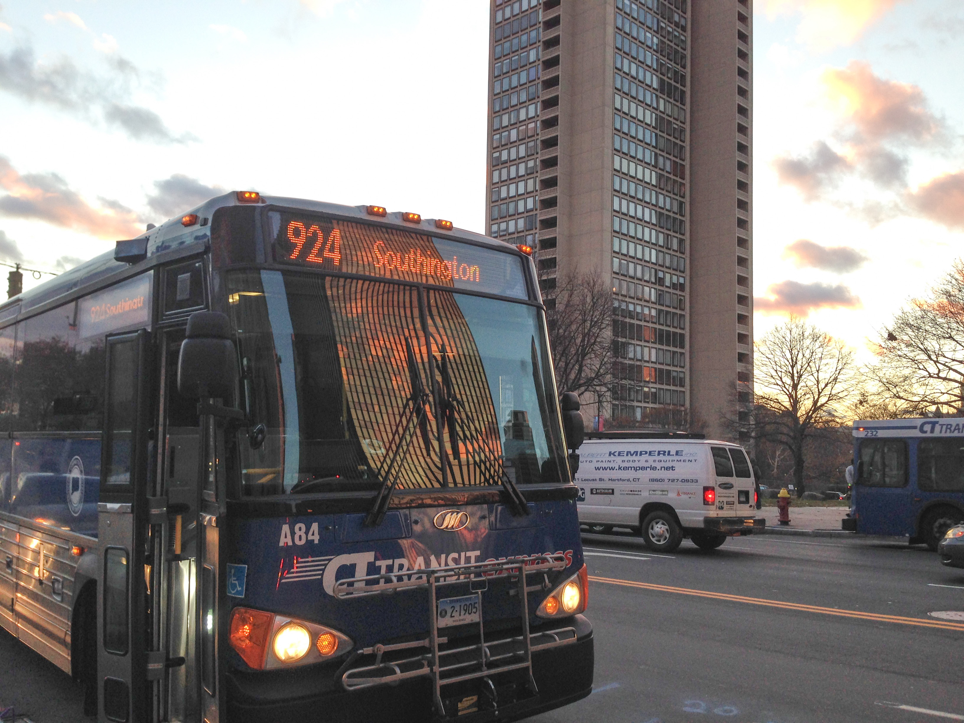 The 924 bus prepares to leave from Main Street in Hartford Thursday on its way to Southington and Cheshire via the bus-only corridor built for CTfastrak. --Eric Cotton