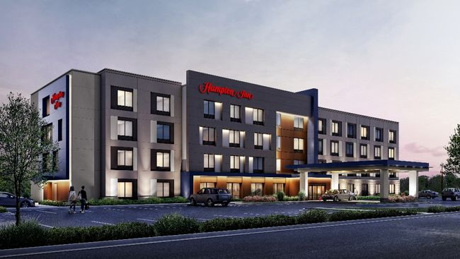 A rendered image of what a room in the 2019 Hampton Inn on Universal Drive in North Haven  will look like.  Photo Courtesy Hilton