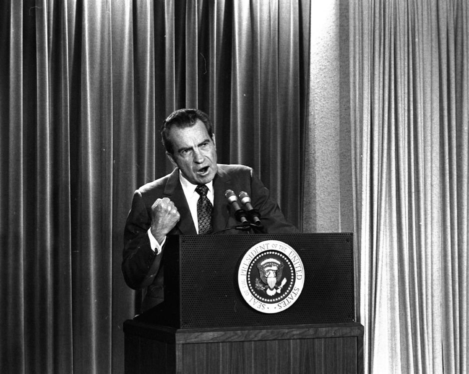 President Nixon tells White House newsmen, March 15, 1973, that he will not allow his legal counsel, John Dean, to testify on Capitol Hill on the Watergate investigation. (AP Photo/Charlie Tasnadi)