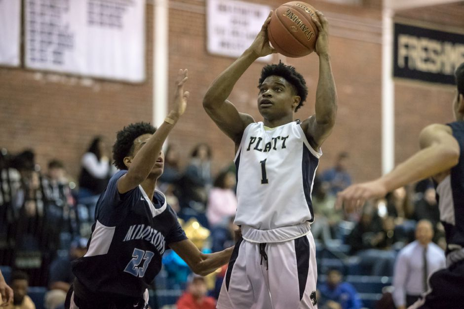 Tremayne Carter had 18 points in Platt's 71-62 loss in Griswold Tuesday night in the first round of the CIAC Division IV Tournament. | Justin Weekes / Special to the Record-Journal