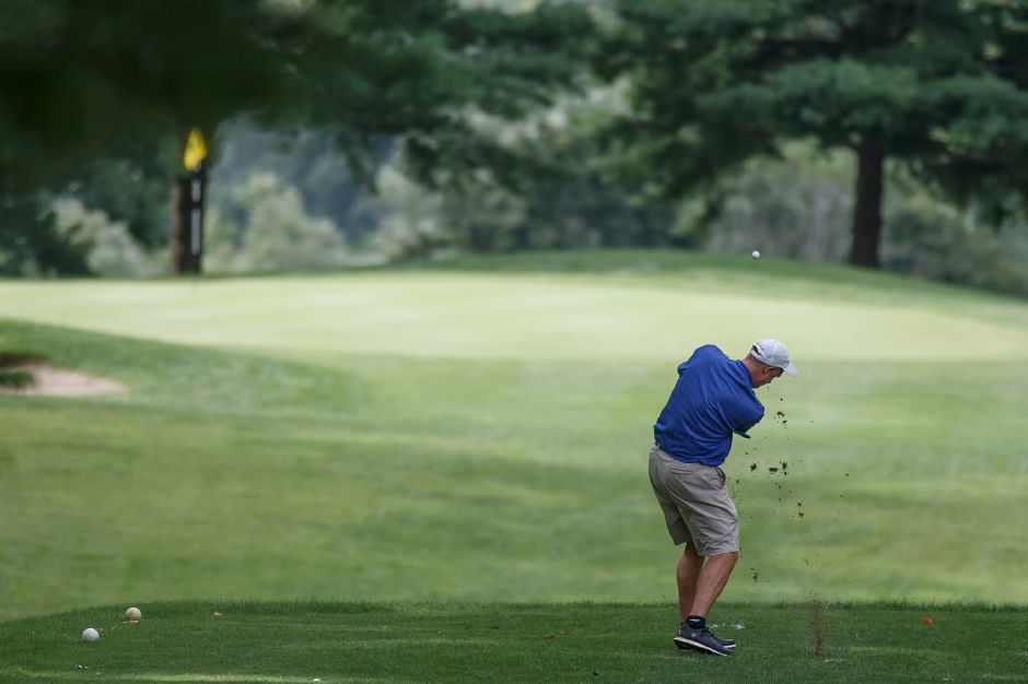 Chuck Stupavich tees off on the 6th hole Sunday during the Meriden City Open Golf Championships at Hunters Golf Club in Meriden August 19, 2018 | Justin Weekes / Special to the Record-Journal