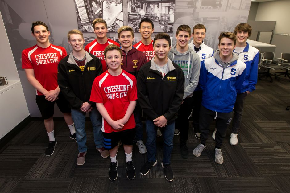 Introducing the inaugural All-Record-Journal Boys Swimming Team. Cheshire's Shane Wynne (left) and Sheehan's Adam DiDomenico are in front. In the middle row, left to right, are Sheehan teammates Andrew Buehler and Joey Zellner, Maloney's Jake Donlon and Southington