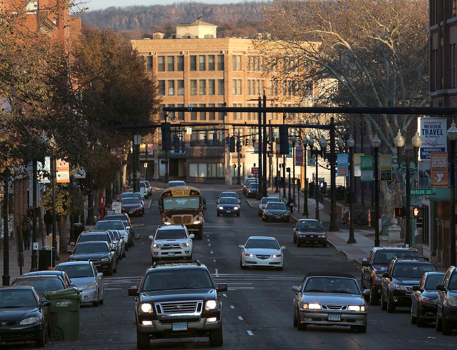 This view looking east on Tuesday shows one-way traffic on West Main Street in downtown Meriden.