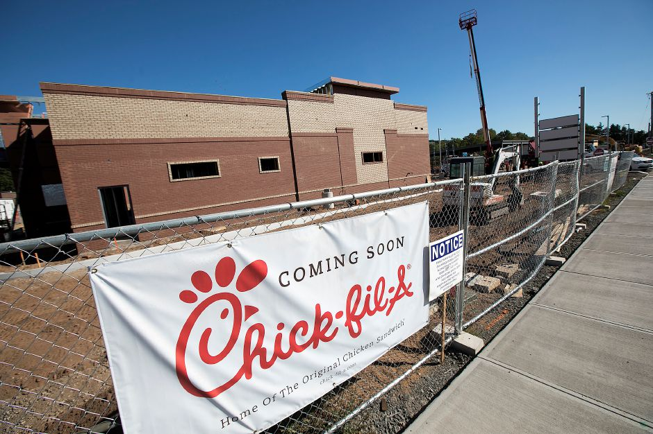 Chick-fil-A under construction in the new Queen Street Plaza in Southington, Monday, October 2, 2017. ALDI supermarket will be the first business to open in the new plaza Thursday morning.  | Dave Zajac, Record-Journal