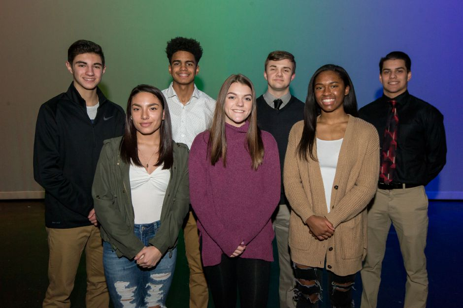 Introducing Platt's Record-Journal Scholar Athletes for the 2018-19 winter season. The girls in front, from left, are Daniela Sevilla, Alyssa Donahue and Martha Chatman. The boys in back, from left, are Aidan Annino, Adriel Gill, Ryan Greene and Julio Hernandez.