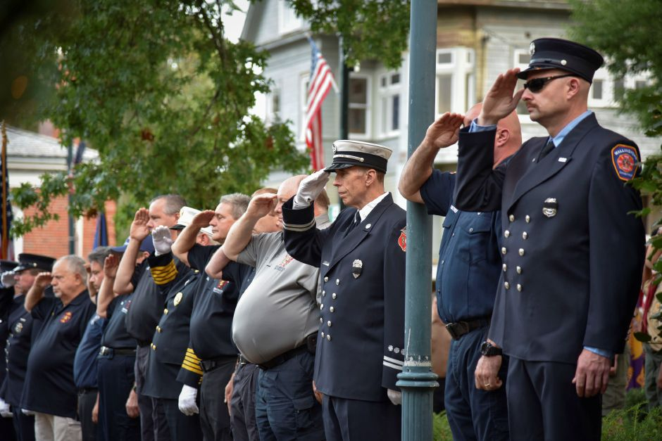 Wallingford police and fire officials at a 9/11 remembrance ceremony at the Wallingford Town Hall on Tuesday, September 11, 2018. | Bailey Wright, Record-Journal