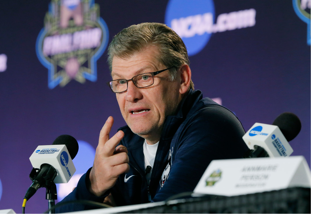 Connecticut head coach Geno Auriemma talks to the media during a news conference at the women