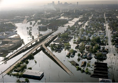 Floodwaters from Hurricane Katrina fill the streets near downtown New Orleans, La., on Aug. 30, 2005.  (AP Photo/David J. Phillip)