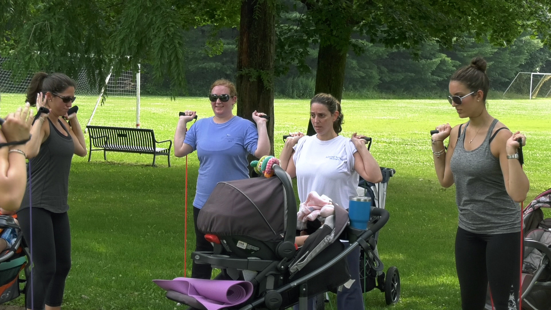 "Moms and their children meet twice a week through the CT Moms Get Fit ""Stroller Boot Camp"" program at Bartlem Park in Cheshire. The Wallingford YMCA is starting their own ""Stroller Shape Up"" program on July 21. 