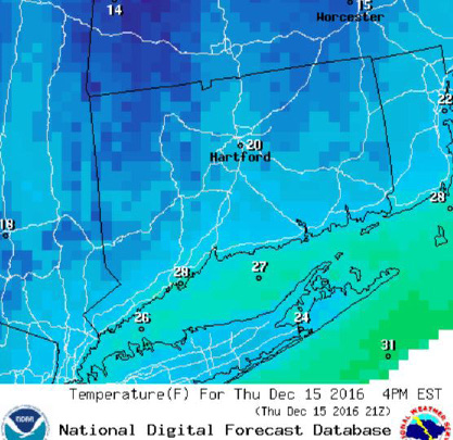 Expected temperatures about 4 p.m. Thursday. | Courtesy of the National Weather Service.