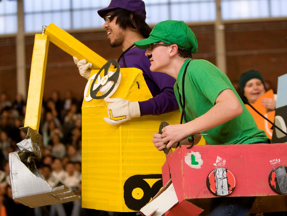Maloney High School Comic Book Club members Martin Kearney, 16, left, plays Waluigi and Kevin O