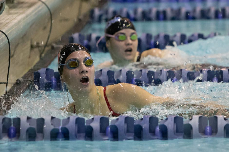 Sophie Murphy won the 200 freestyle and swam legs on the 200 and 400 free relays to help Cheshire defend its SCC swimming championship Monday at SCSU. | Justin Weekes / For the Record-Journal