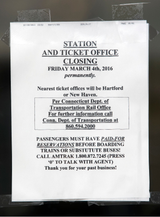 A closing notice posted at the Meriden train station, Wednesday, March 2, 2016. The station and ticket office will close permanently Friday March 4th.  |  Dave Zajac / Record-Journal