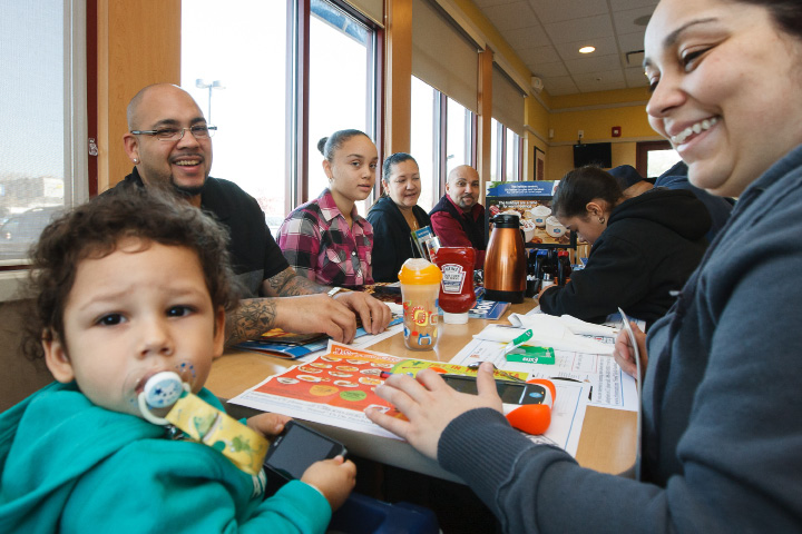 Members of the Santos family have breakfast Saturday morning at the IHOP restaurant in Wallingford. | Justin Weekes / For the Record-Journal