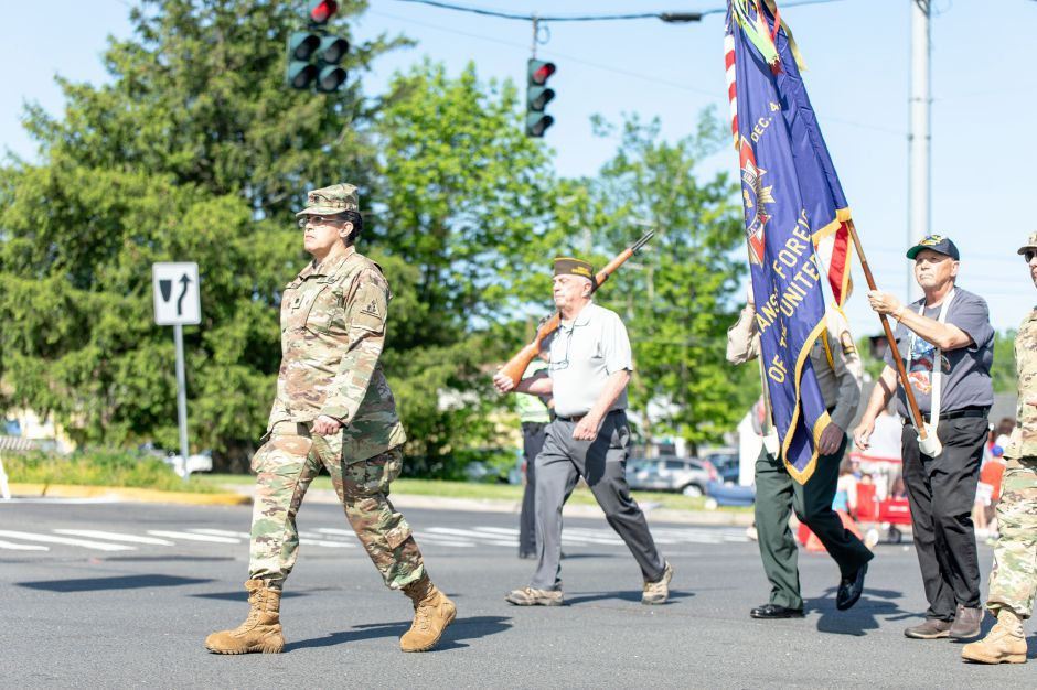 Connecticut Army National Guard Lieutenant Colonel Lesbia Nieves marches with local veterans in the Berlin Memorial Day parade on May 25, 2019. Nieves was the guest speaker in a ceremony held at the town
