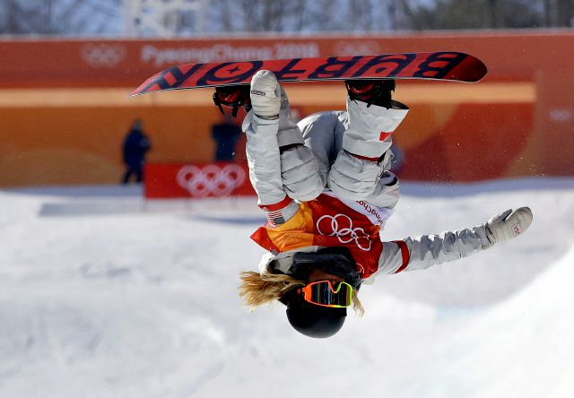 Chloe Kim, of the United States, jumps during the women