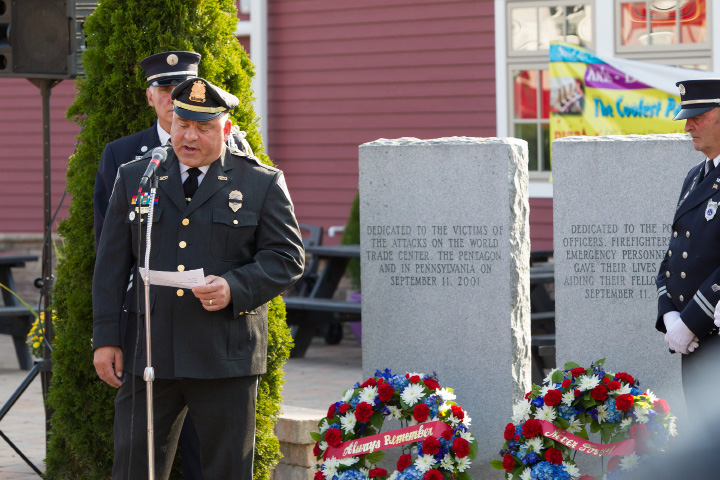 Deputy Chief William Palmeri recounts the events of September 11th 2001 Monday during a 9/11 memorial remembrance ceremonies at the Farmington Canal Heritage Trail 9/11 Memorial in Plantsville  September 11, 2017 | Justin Weekes / For the Record-Journal