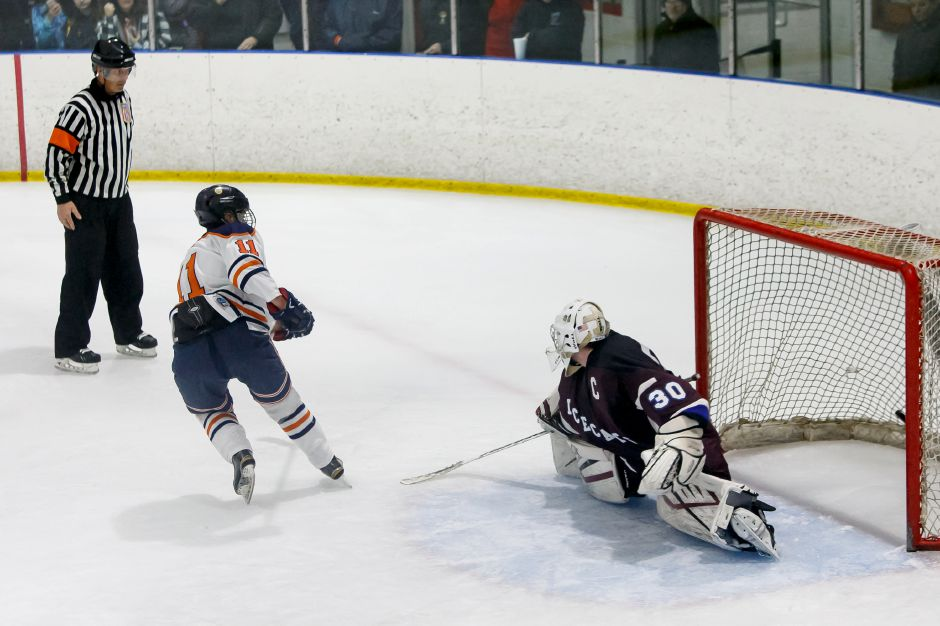 Matt Pettit had the game-winning goal less than a minute into overtime in the Lyman Hall Co-op's 5-4 victory over North Haven in the season opener Thursday night at Northford Ice Pavilion. | Justin Weekes / Special to the Record-Journal