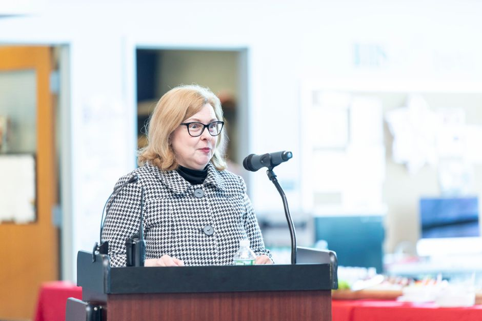 State Department of Education Commissioner Diane Wentzell speaks at a ceremony for Berlin High School teacher David Bosso's induction into the National Hall of Fame on Tuesday, April 2, 2019. | Devin Leith-Yessian/Berlin Citizen
