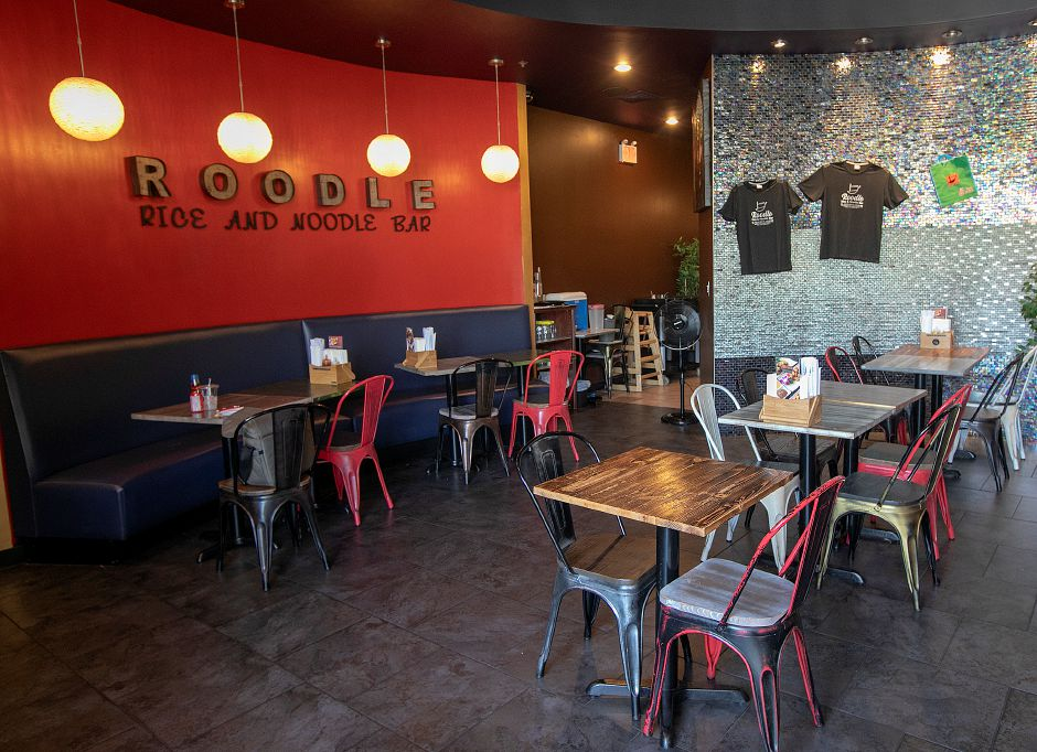 Dining room of Roodle Rice & Noodle Bar, 1263 S. Broad St., Wallingford, Fri., Aug. 2, 2019. Dave Zajac, Record-Journal