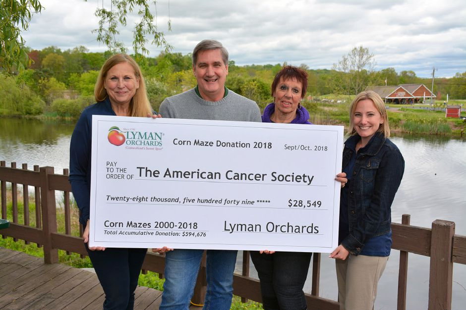 From left: Lynn Kipphut, Community Development Manager, American Cancer Society; John Lyman III, Executive Vice President, Lyman Orchards; Diane Franklin, volunteer, American Cancer Society; Alexis Maliga, Senior Manager, Community Development, American Cancer Society. | Photo Courtesy Lyman Orchards