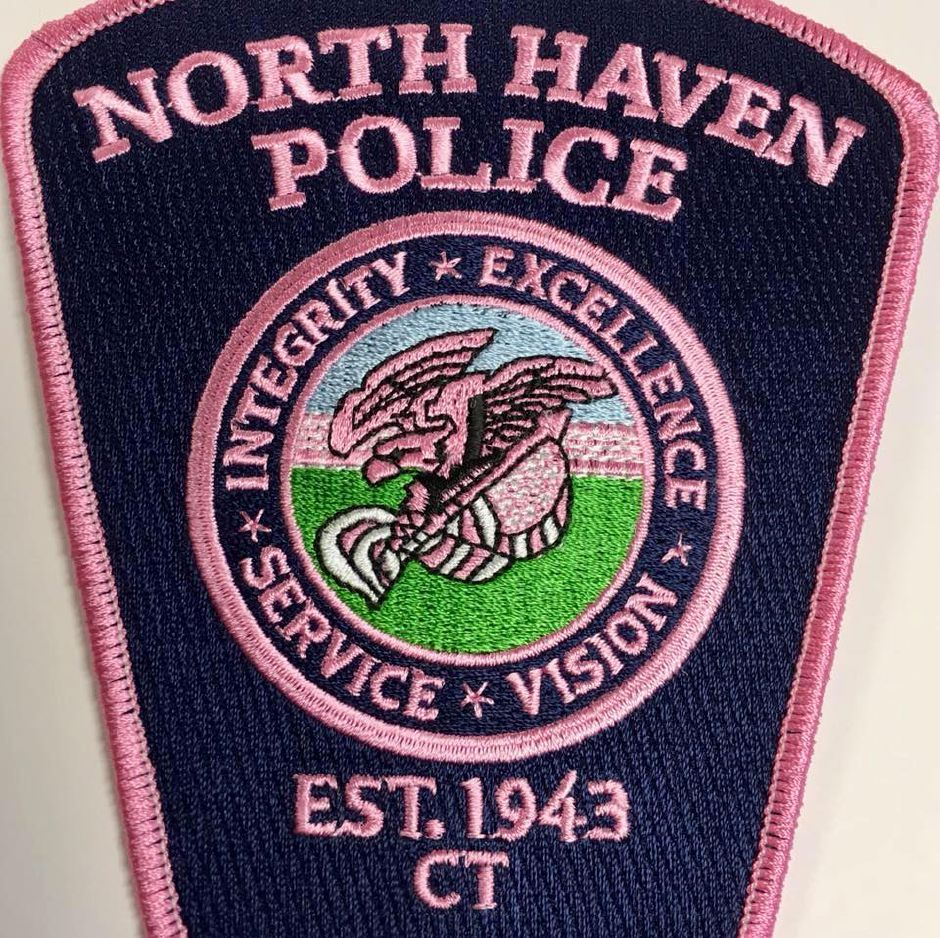 A pink-tinted version of the North Haven Police Department uniform patch. The police department raised more than $2,000 through selling pink patches during October. | Contributed