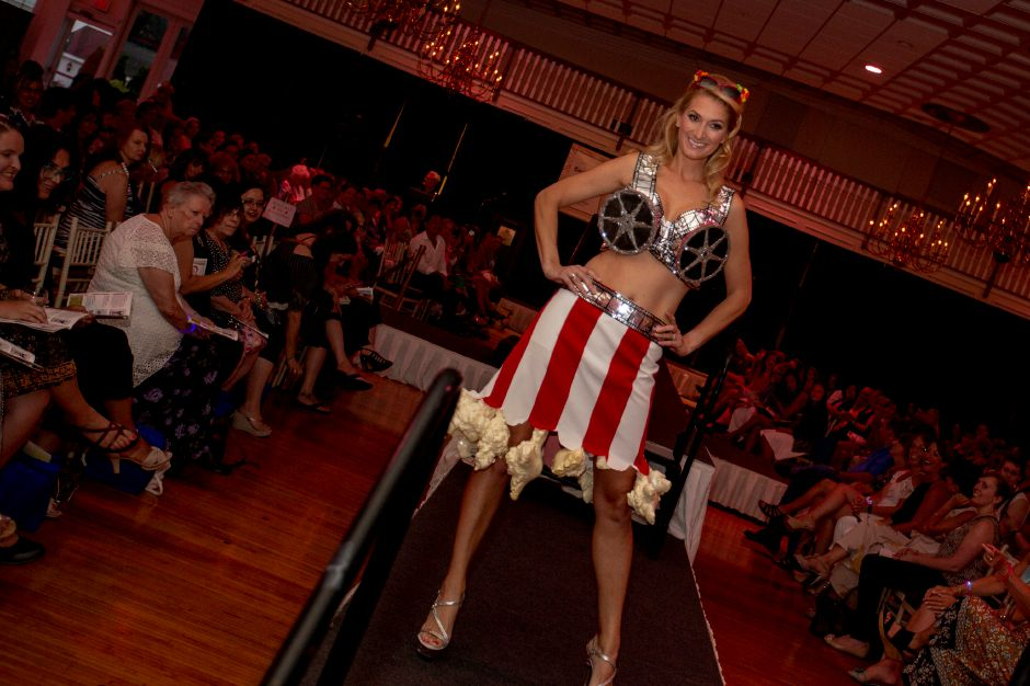 "Model Bethany Ty shows off the ""Part of Me"" bra during the Art Bra 2018 Runway Show and Auction Aug. 9, 2018 at the Aqua Turf in Southington. 