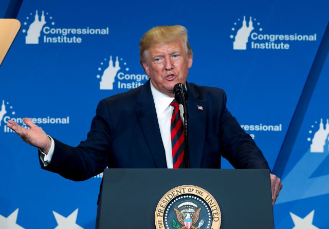 FILE - In this Sept. 12, 2019 file photo, President Donald Trump speaks at the 2019 House Republican Conference Member Retreat Dinner in Baltimore. A federal appeals court in New York has restored a lawsuit by restaurant workers, a hotel event booker and a watchdog who say Trump has business conflicts that violate the Constitution. The lawsuit tossed out in 2017 by a lower-court judge was restored Friday, Sept. 13, by the 2nd U.S. Circuit Court of Appeals. (AP Photo/Jose Luis Magana)