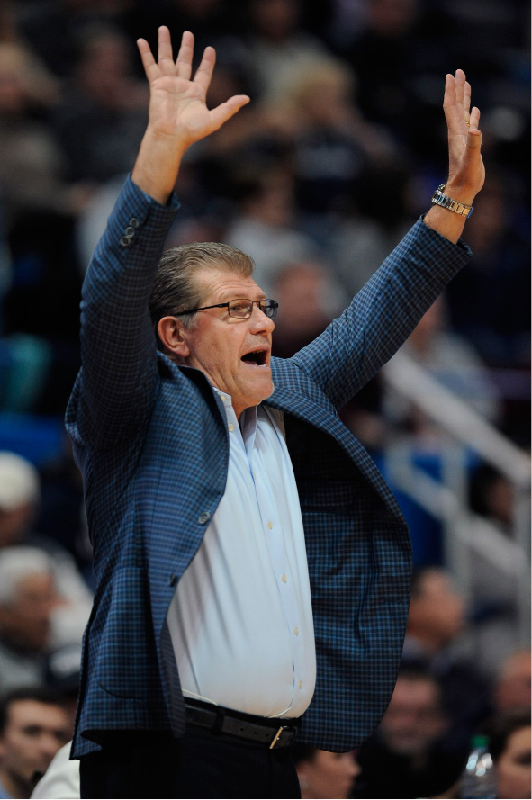 Connecticut head coach Geno Auriemma gestures in the first half of an NCAA college basketball game against Ohio State, Monday, Dec. 19, 2016, in Hartford, Conn. (AP Photo/Jessica Hill)