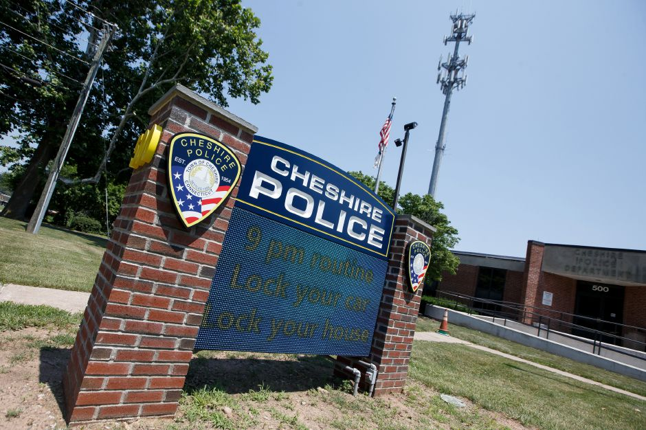 Cheshire Police sign Monday at the Cheshire Police Department in Cheshire July 2, 2018 | Justin Weekes / Special to the Record-Journal