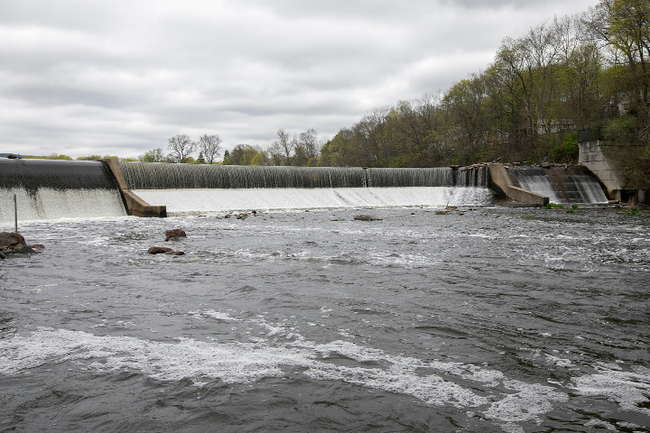 A view Thursday of the Hanover Pond dam in Meriden. | Dave Zajac, Record-Journal