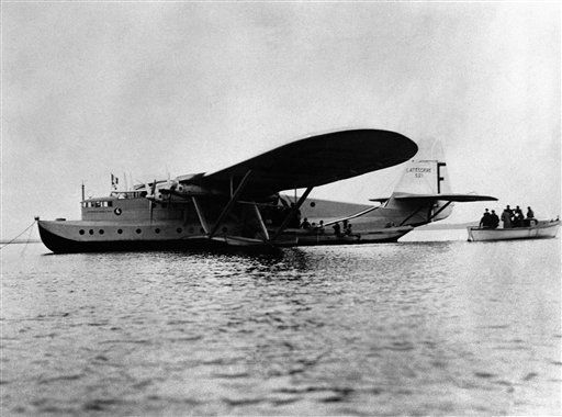 After setting up a new long-distance record on its outward flight from Morocco to Brazil, the Giant French flying-boat Lieutenant De Vaisseau Paris returned to its base at Biscarosse. The flying-boat flew from Lyautey, French Morocco, to Maceio, 140 miles south of Pernambuclo, in 34 hours 45 minutes. The Lieutenant De Vaisseau Paris on arrival at Biscarosse, France, on its return from Dakar, Senegal, on Nov. 14, 1937. (AP Photo)