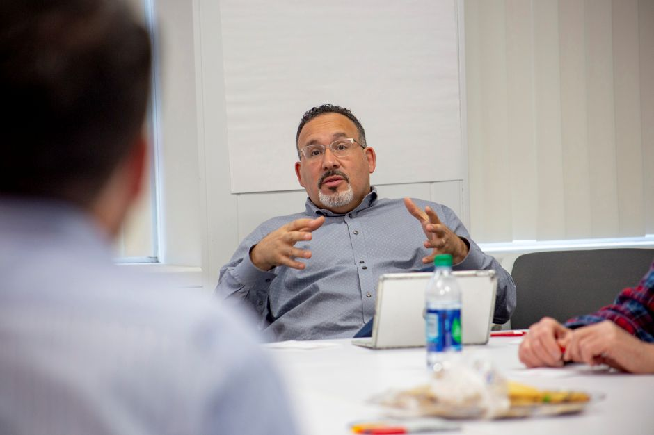 Miguel Cardona, Meriden Assistant Superintendent for Teaching and Learning, talks during a focus group at the Record-Journal office April 15, 2019. | Richie Rathsack, Record-Journal
