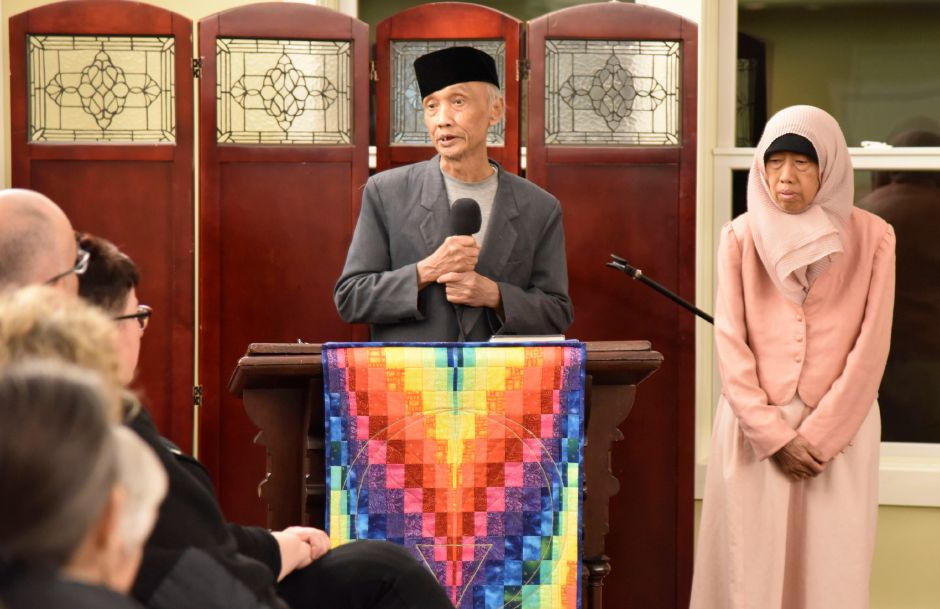 Indonesian immigrant Sujitno Sajuti and his wife address those gathered at the Unitarian Universalist Church in Meriden to support Sajuti, who is facing deportation and taking sanctuary at the church, on Friday, Feb. 2, 2018.