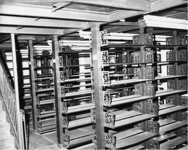 File photo - Empty bookshelves in the old Curtis Library, March 1973.
