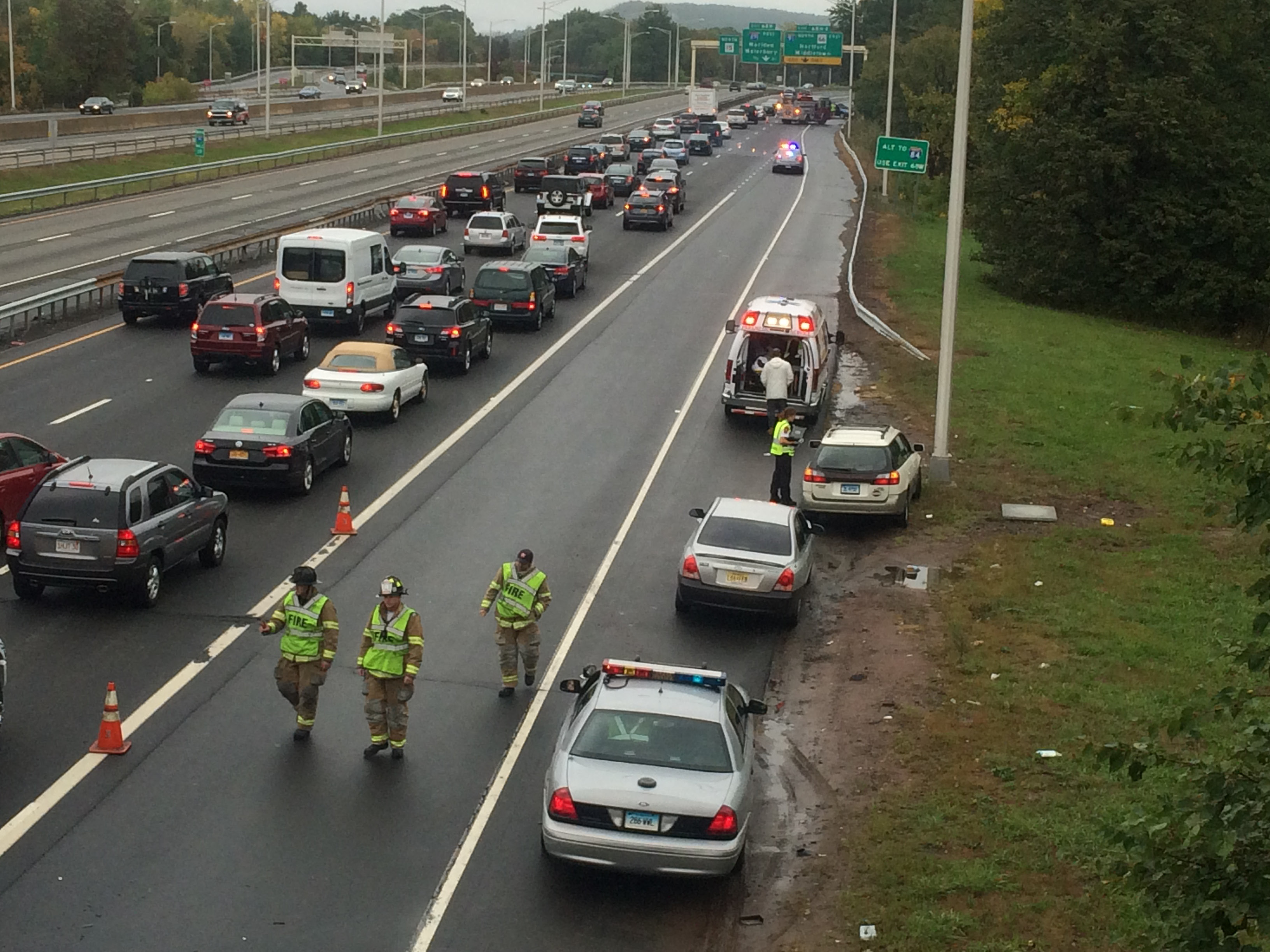 MERIDEN — A three-car accident tied up traffic on Route 15 north