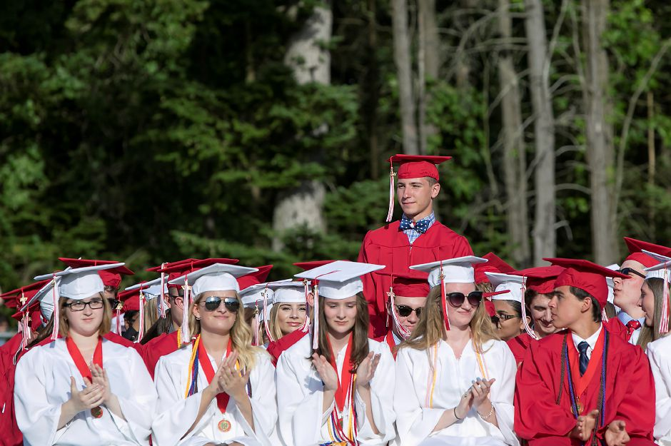 Graduate Christopher Paier is recognized as one of during graduation ceremonies at Cheshire High School, Wednesday, June 14, 2017. | Dave Zajac, Record-Journal