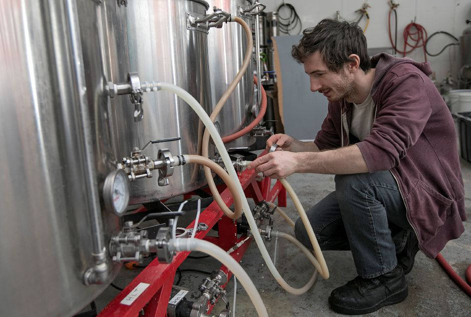 Ed Peccerillo, assistant brewer, prepares the mash at Front Porch Brewing at 226 N. Plains Industrial Rd. Unit 4 in Wallingford, Friday, Feb. 2, 2018. Dave Zajac, Record-Journal
