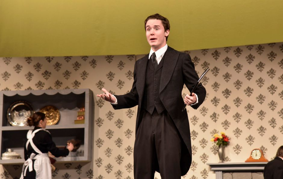 Maloney High School senior Bryan Brazel, playing Mr. Banks, prepares for this weekend