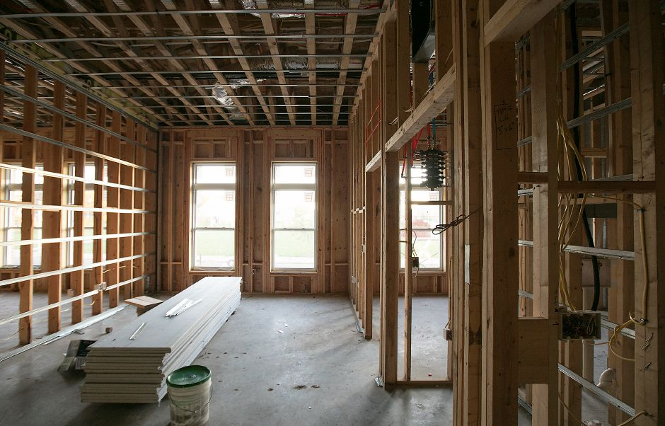 An apartment under construction in the Meriden Commons at the corner of Mill Street and State Street in Meriden, Tuesday, October 17, 2017. Meriden Commons phase I has reached the halfway point and is on schedule, according to project developers. | Dave Zajac, Record-Journal