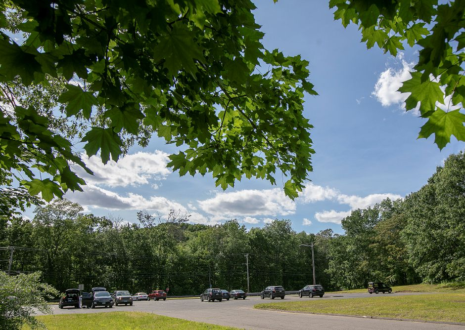 View from a wooded area east of the commuter lot on Route 10 near the Interstate 691 interchange in Cheshire, Mon., June 3, 2019. Town officials could soon be marketing nearly 50 acres of state land near the commuter lot off Interstate 691 to developers pending final legislative approval. Dave Zajac, Record-Journal