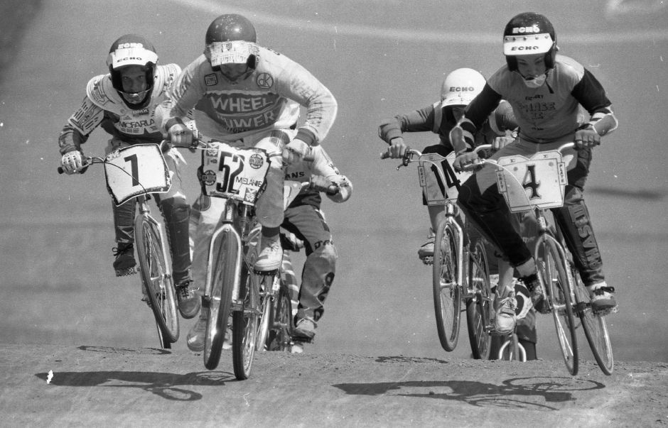 RJ file photo - Riders bounce over the first hump after a downhill break from teh starting gate in the Silver City BMX competition at Falcon Field July 30, 1989.