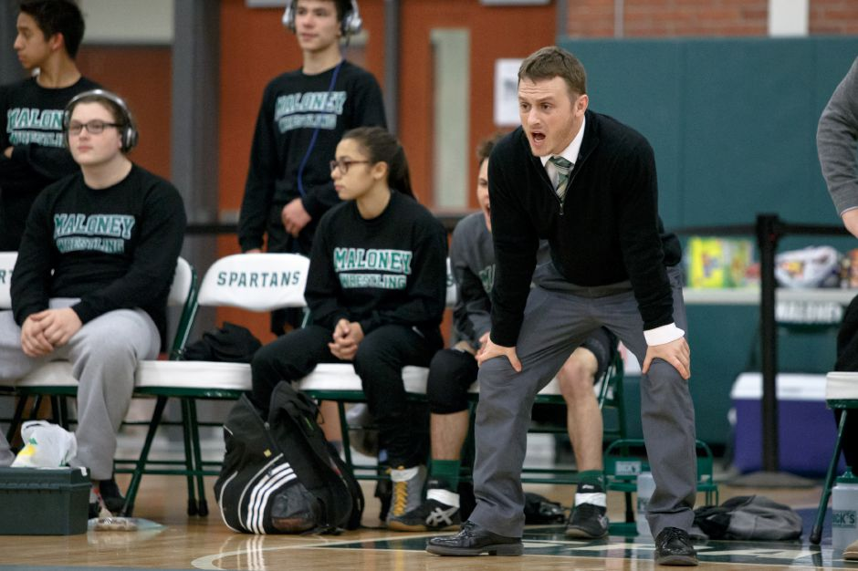 After two seasons at Maloney, his high school alma mater, wrestling coach Eric Bergeron is taking the head coaching position at his college alma mater, Plymouth State University in New Hampshire. | Justin Weekes / Special to the Record-Journal
