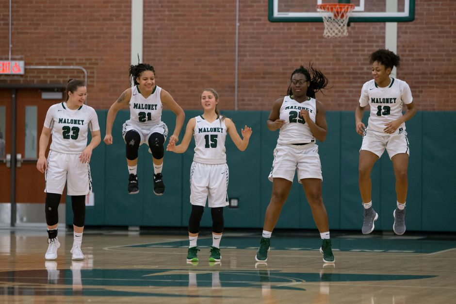 Maloney Spartans gets ready for East Catholic Friday at Maloney High School in Meriden January 12, 2018 | Justin Weekes / Special to the Record-Journal