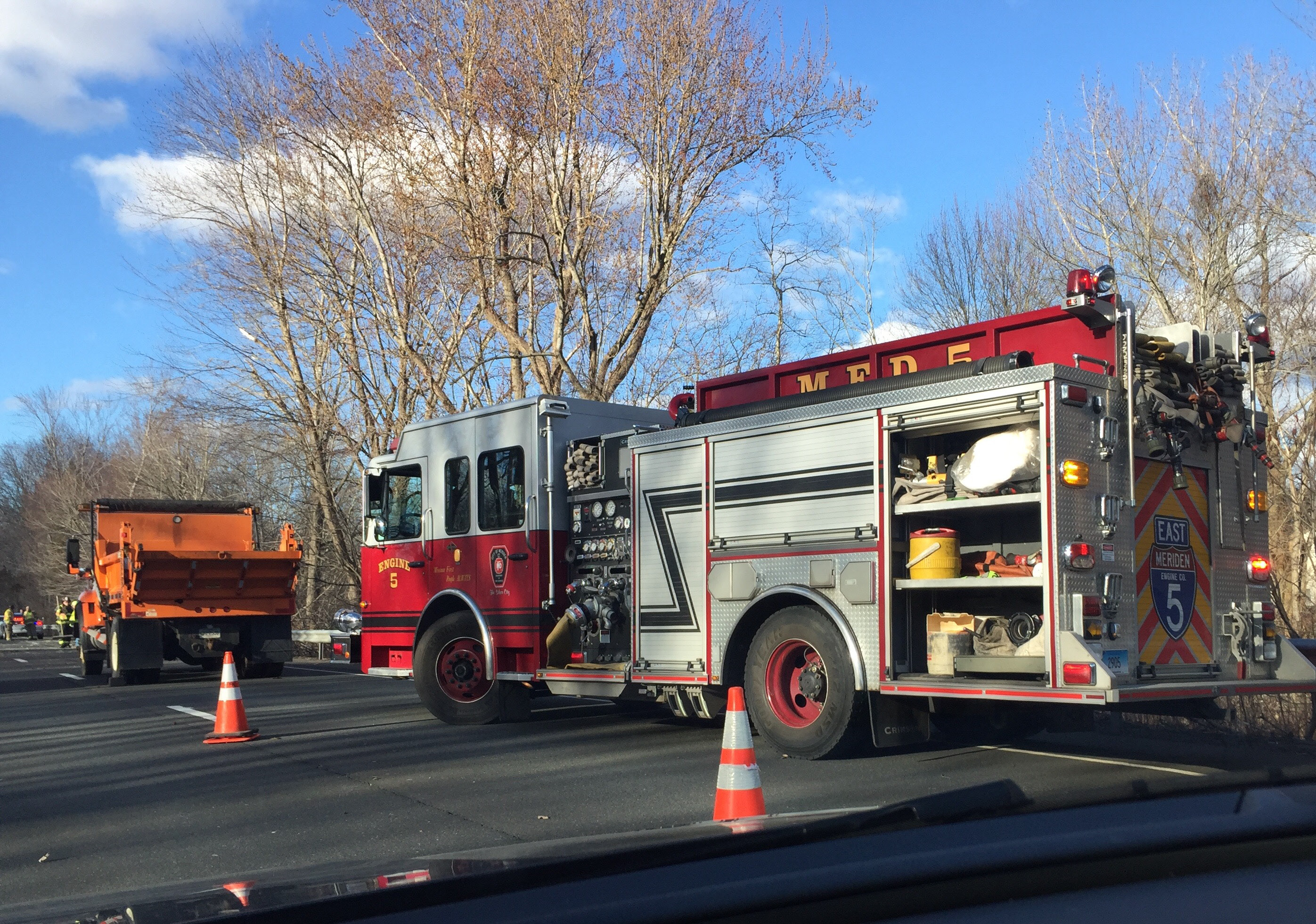 Fire crews at a crash on Route 15 south in Meriden on Thursday, March 2.