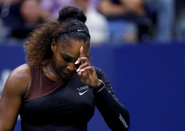Serena Williams, of the United States, reacts during a match against Karolina Pliskova, of the Czech Republic, during the quarterfinals of the U.S. Open tennis tournament Tuesday, Sept. 4, 2018, in New York. (AP Photo/Adam Hunger)