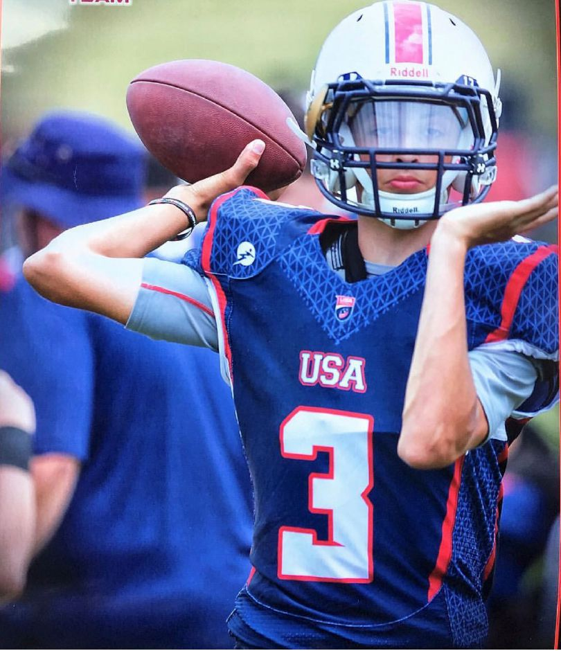 Angel Arce III, an eighth-grader at Washington Middle School, played in the Under-15 game that was part of the U.S. National Football Teams International Bowl IX at AT&T Stadium in Arlington, Texas, home of the NFL's Dallas Cowboys.
