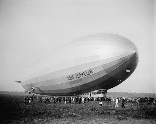The giant German dirigible Graf Zeppelin is shown at Lakehurst, N.J., Aug. 29, 1929, after its flight around the world.  (AP Photo)